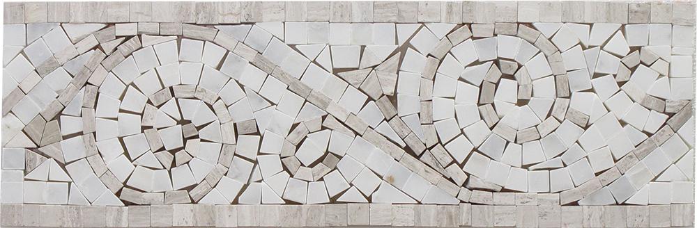 "Oyster Gray - Arabescato Art Border - 4"" x 12"" Image"
