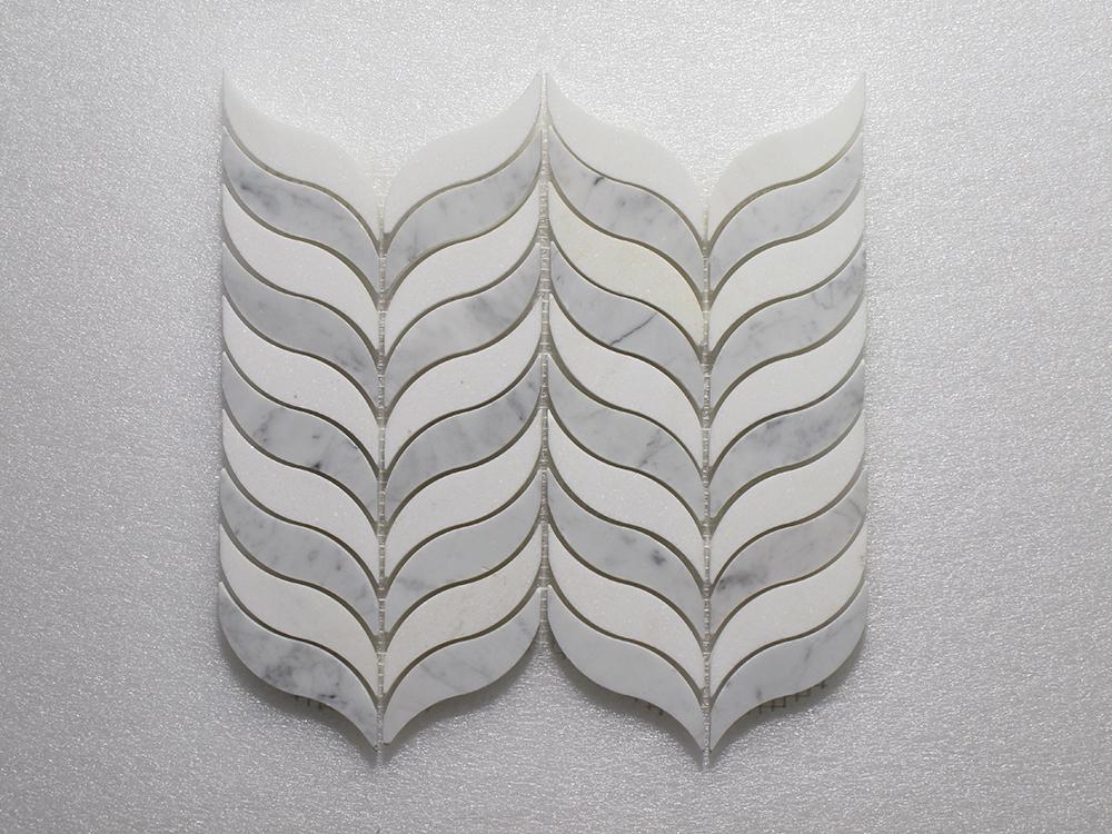 "WJ 507 Feather - Thassos P.&Carrara P. 10.5"" x 12"" Image"