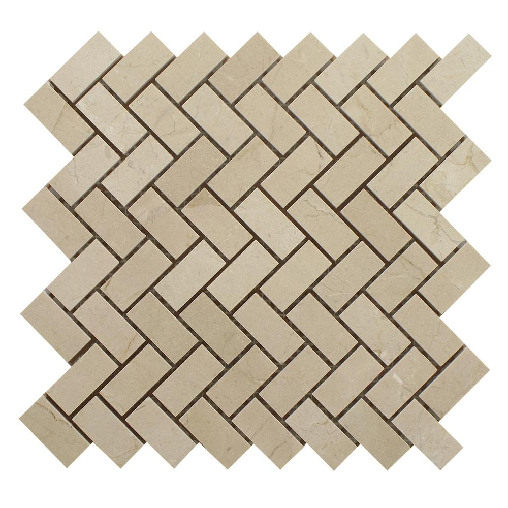 "Crema Marfil Herringbone - 3/4"" X 2"" Image"