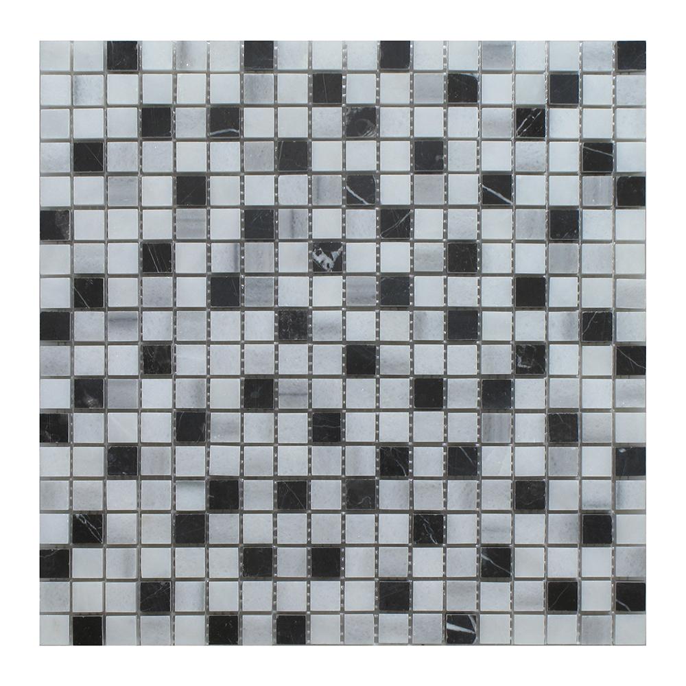 "Venetian White - Nero Marquina - Equator Blend Square - 1"" x 1"" Image"