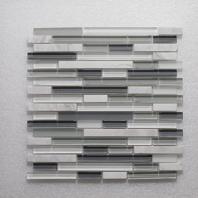 Glass & Stone Blend Random Strip Mosaic MAG 001-ST Image