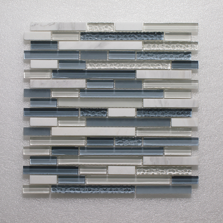 Glass & Stone Blend Random Strip Mosaic MAG 4422-ST Image