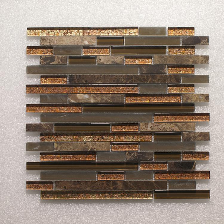 Glass & Stone Blend Random Strip Mosaic MAG 4437-ST Image