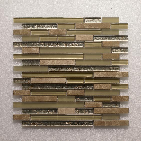 Glass & Stone Blend Random Strip Mosaic MAG 4438-ST Image