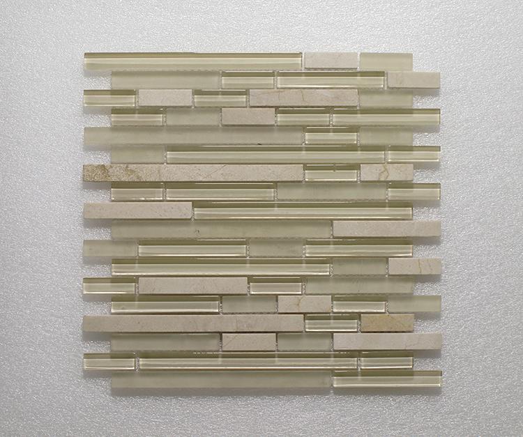Glass & Stone Blend Random Strip Mosaic MAG 4440-ST Image