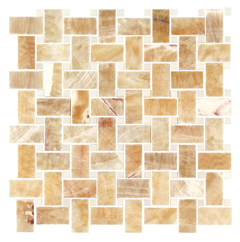 Honey Onyx Artic White Marble Basketweave Image