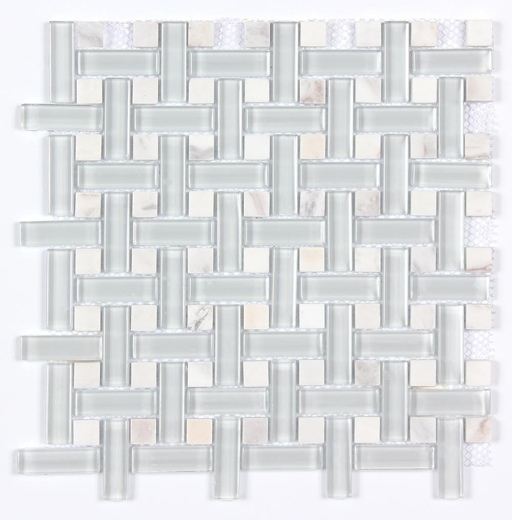 Glass & Stone Dot Basket Weave Mosaic MAG 4801-BW Image