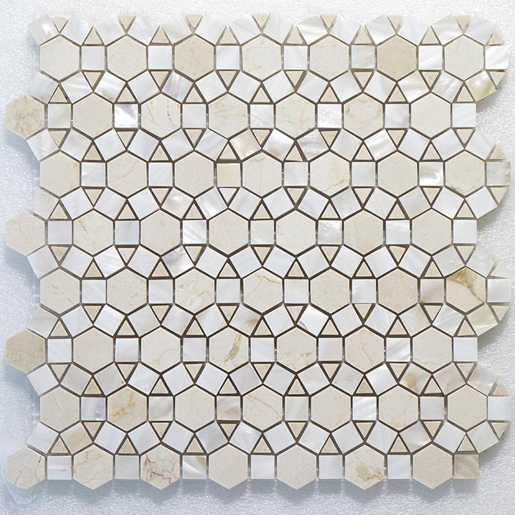 "MAG 931 Bloom Carrara & White Shell - 11.8"" x 11.8"" Image"