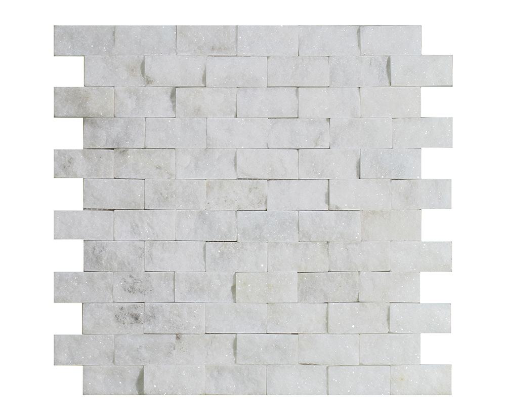 "Milas White Split Face Brick - 1"" x 2"" Image"