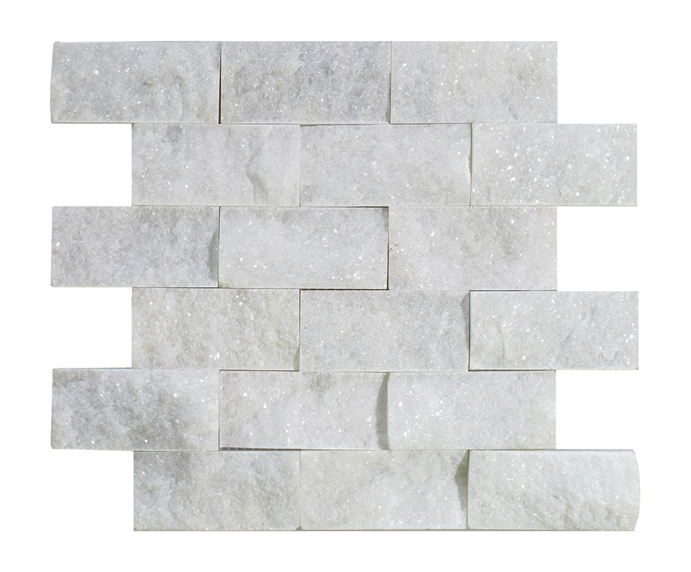 "Milas White Split Face Brick - 2"" x 4"" Image"
