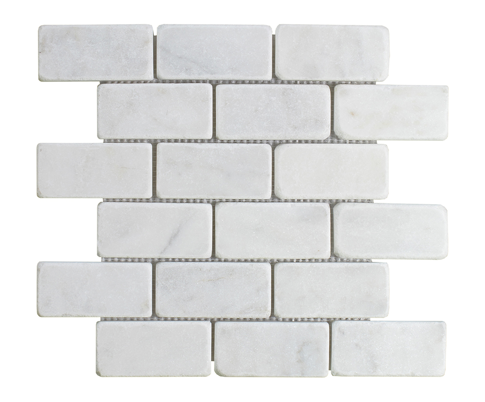 Milas White Brick 2 Milas White Tumbled Marble Collection