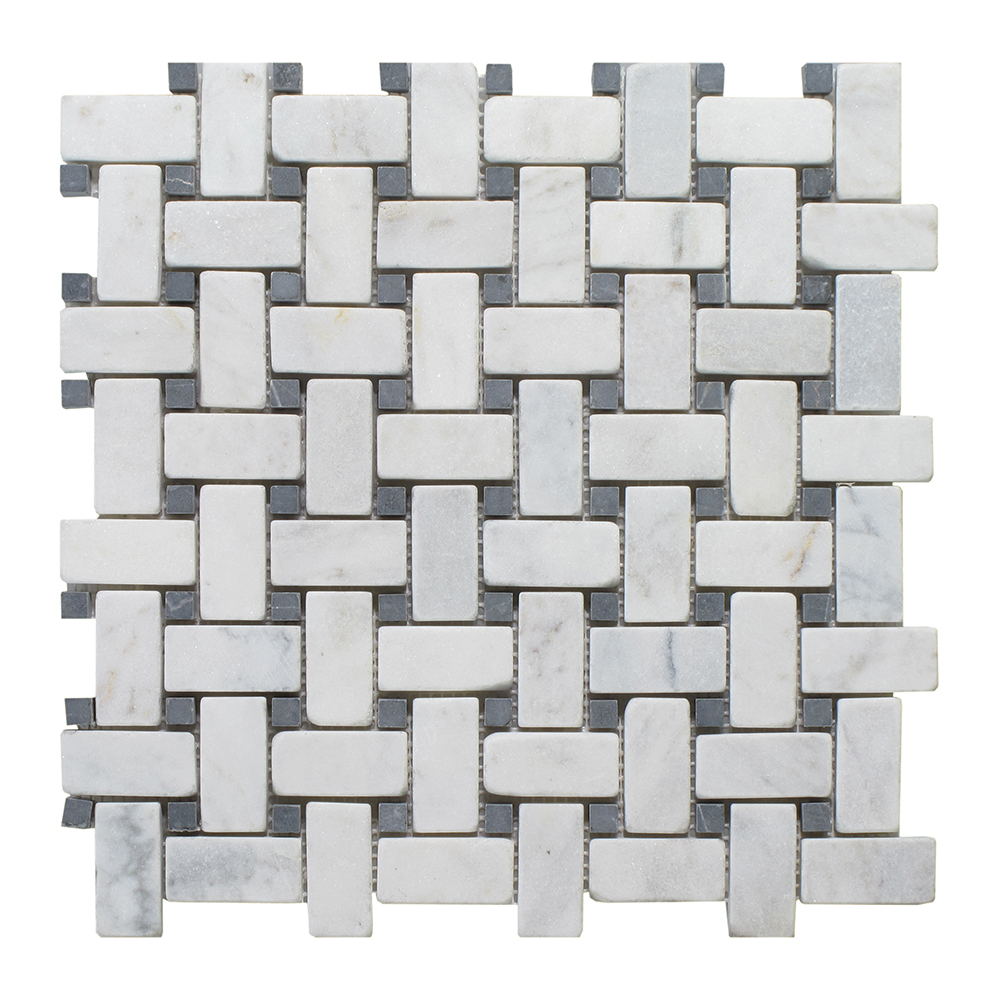 Milas White with Black Dot Basket Weave Milas White Tumbled