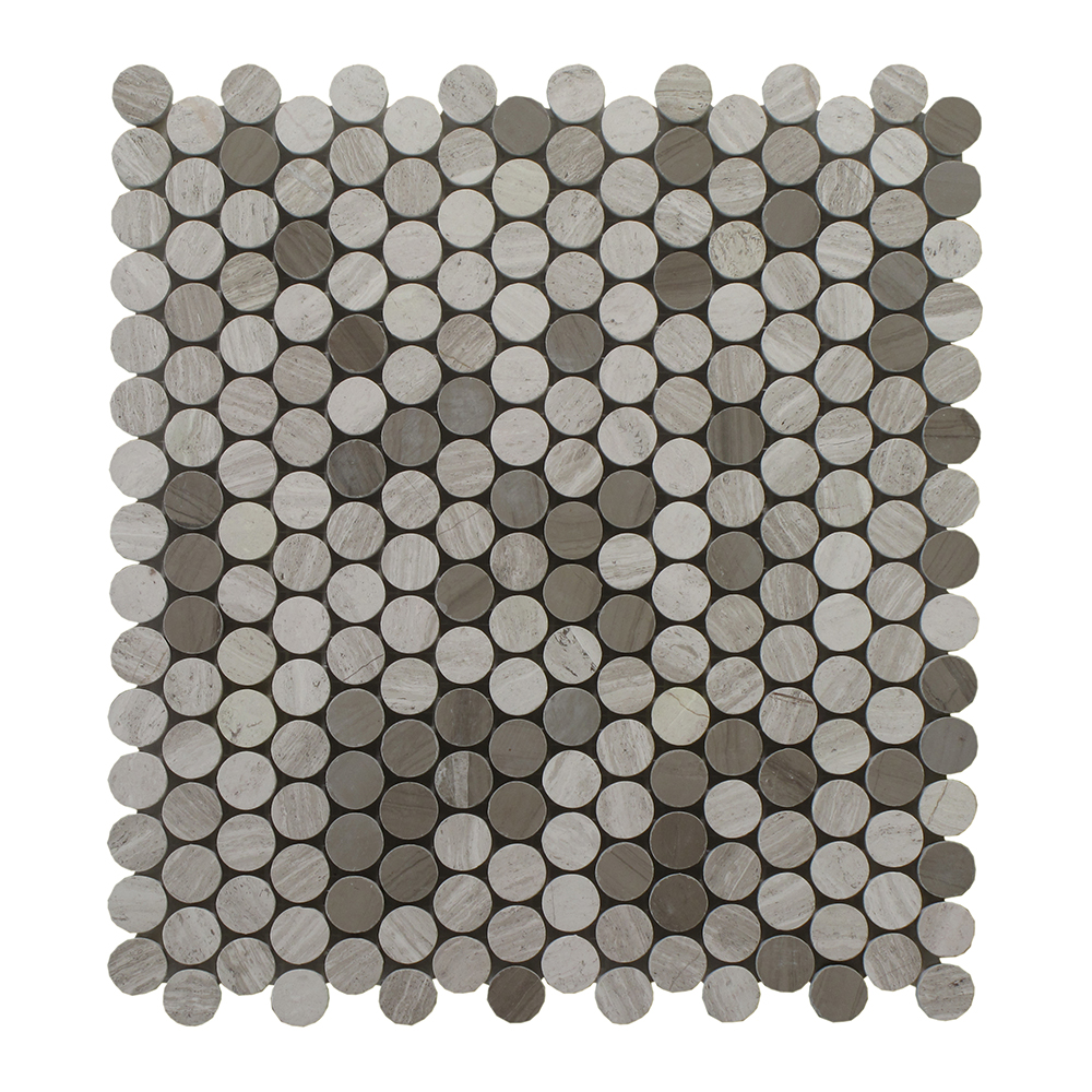 "Oyster Grey Mixed W/Athens Grey Penny Round 3/4"" - 12"" x 12"" Image"