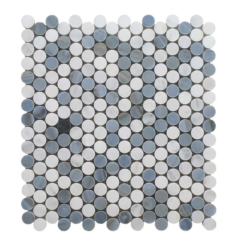 Arabescato Mixed W/Blue Stone Penny Round 3/4 Image