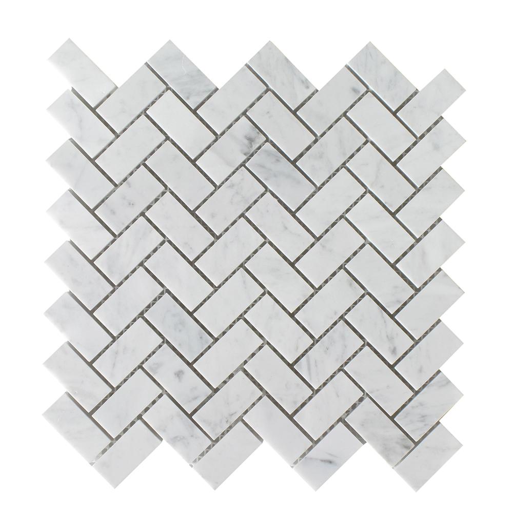 """Bianco Carrara Herringbone - 3/4""""x2"""" Image"""