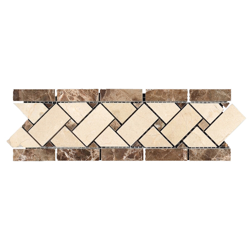 Dark Emperador - Crema Marfil Basket Weave Border - 4x12 Image