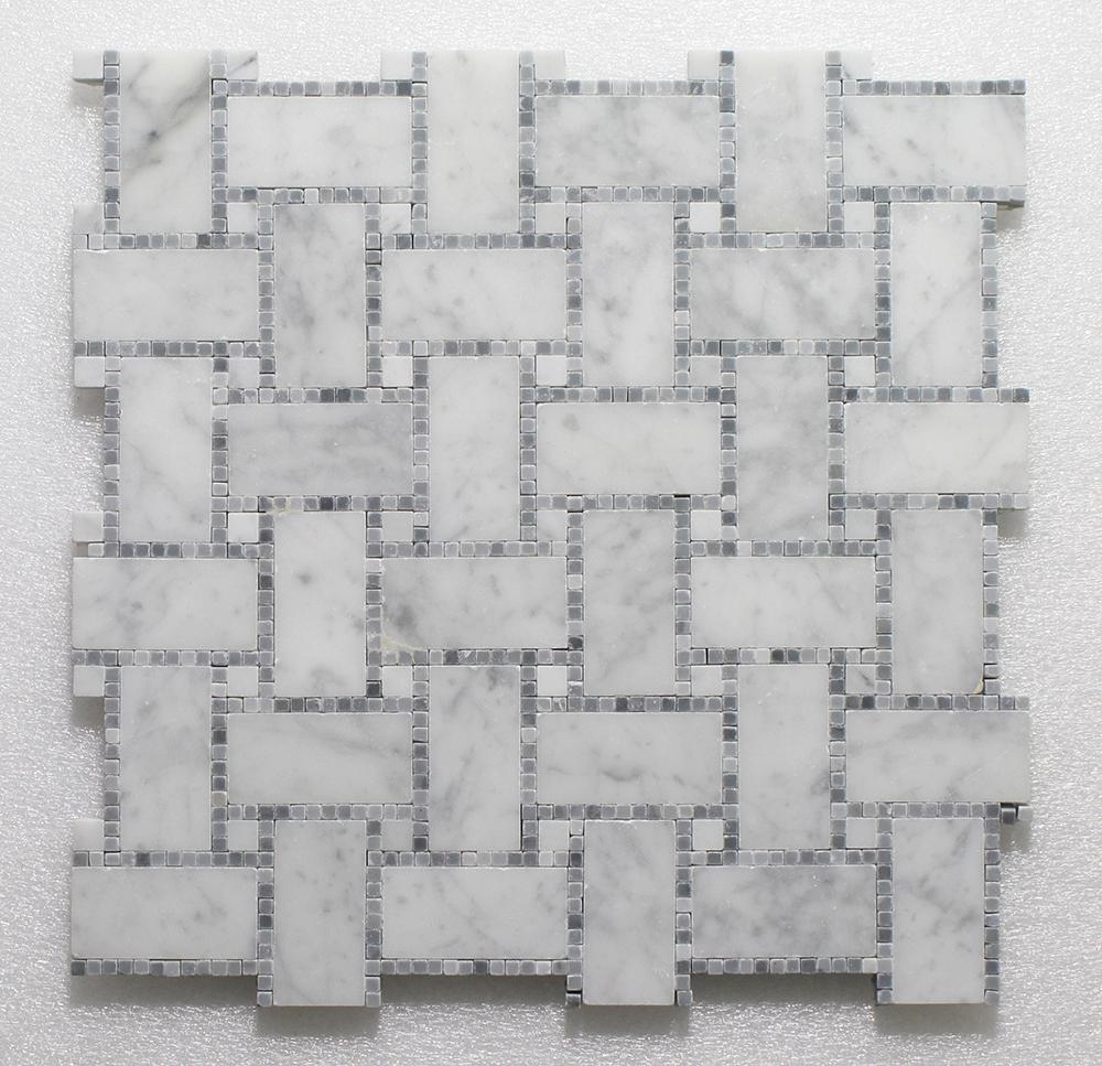 """WJ 502 B.view-Micro Mosaic- Carrara H.&Blue P. 12"""" x 12"""" Image"""
