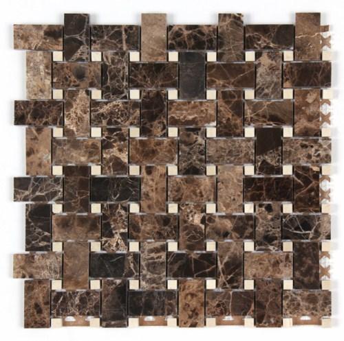 """Dark Emperador - Crema Marfil Art Border - 4"""" x 12"""" Image"""