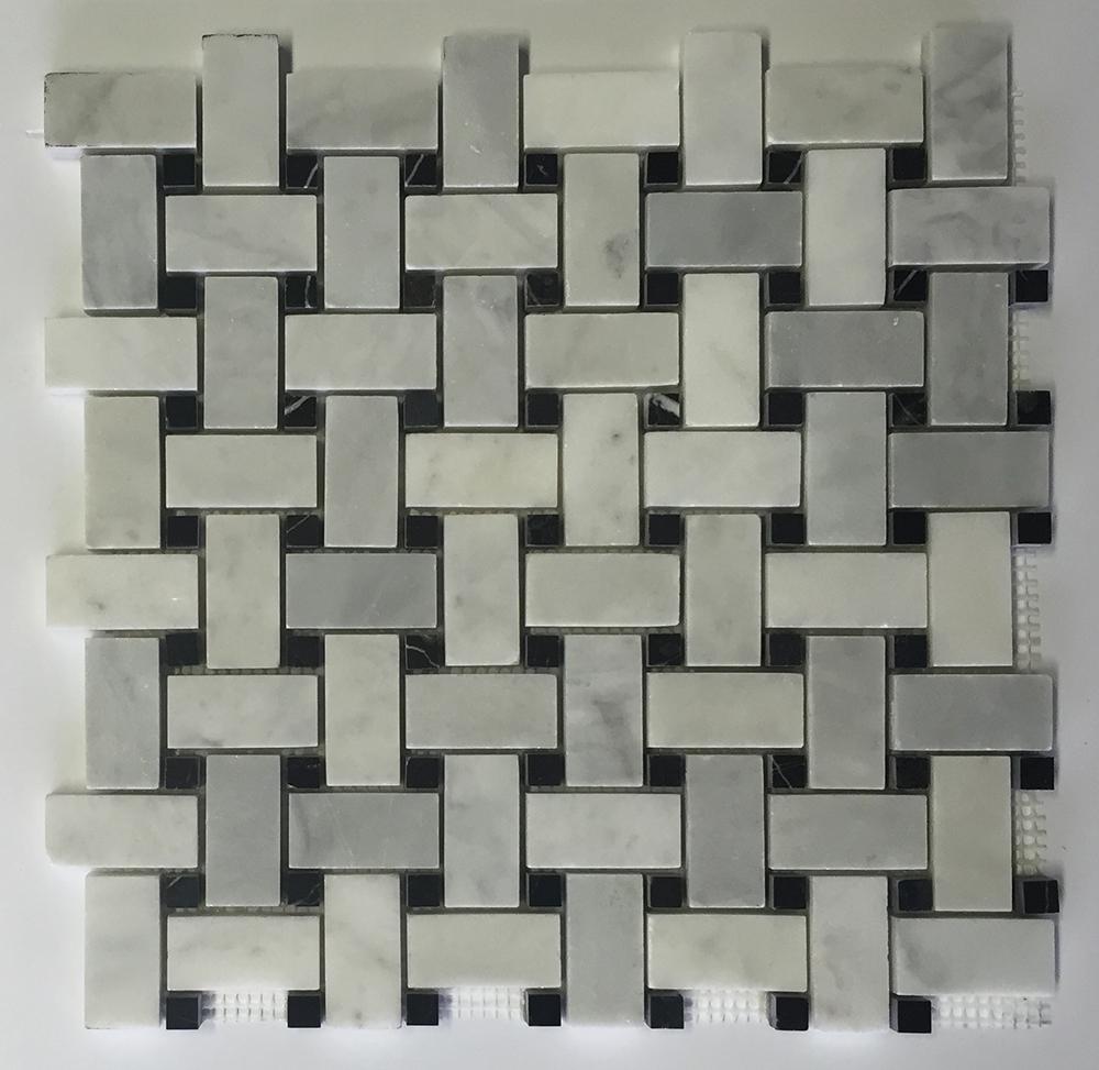 Venetian White - Black Dot Marble Basket Weave Image