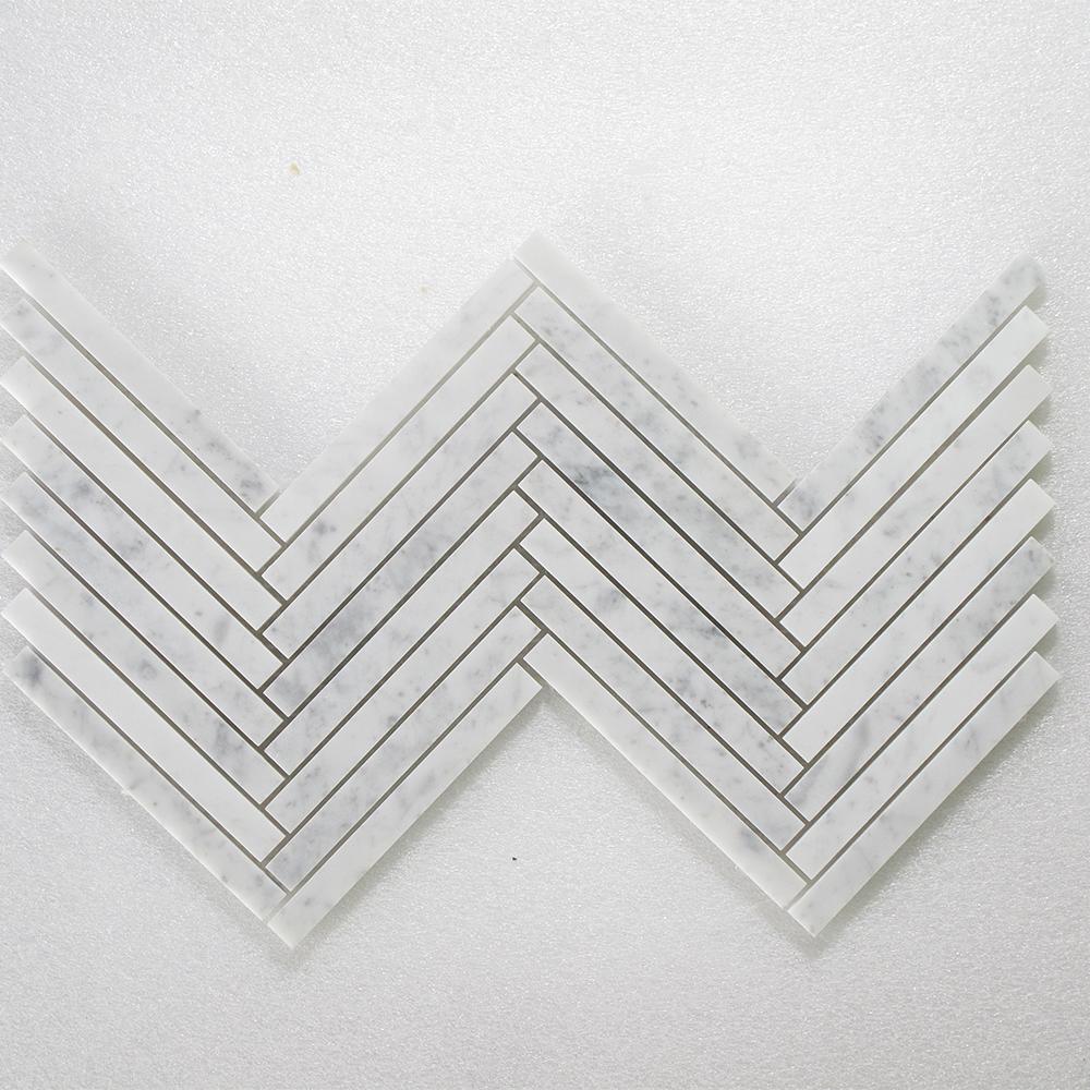 """Bianco Carrara Herringbone - 5/8""""x6"""" Image"""