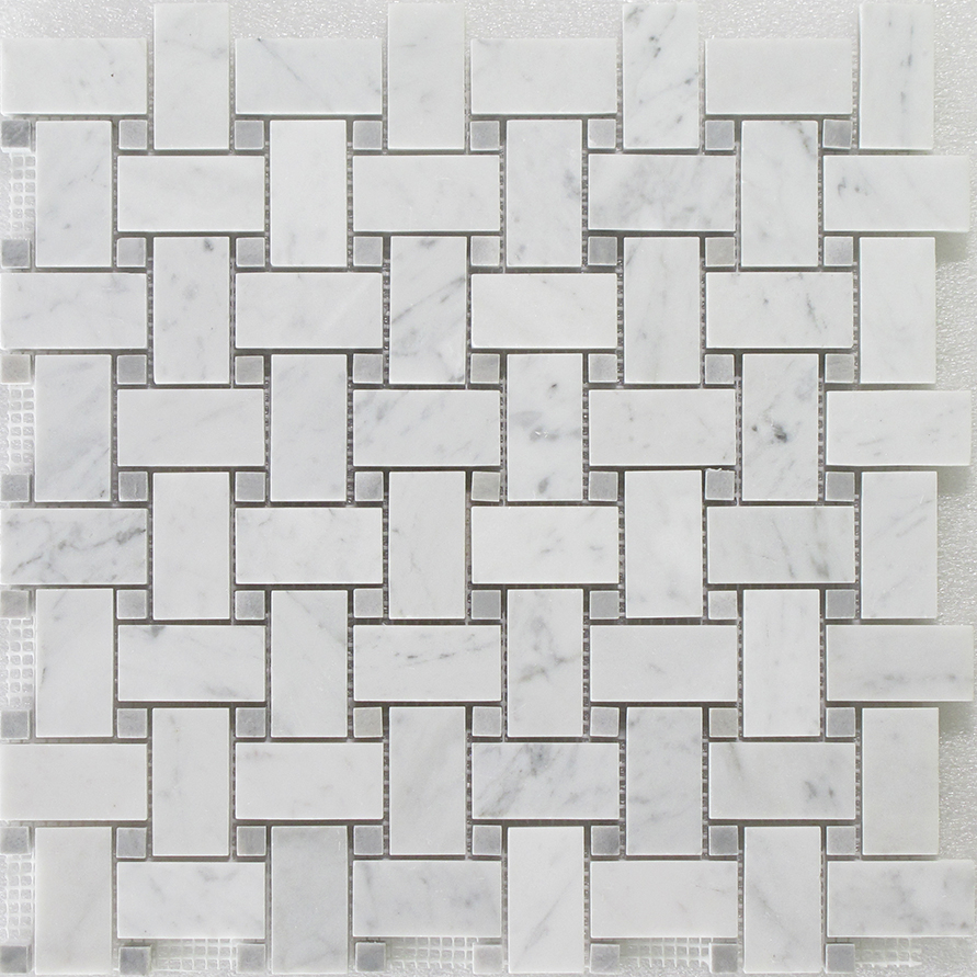 Bianco Carrara - Grey Dot Basket Weave Image