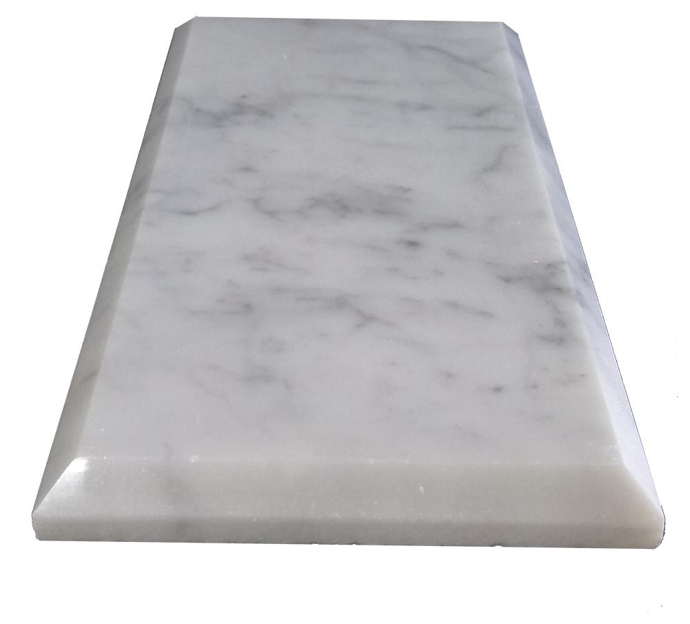 """Bianco Carrara Beveled 3"""" x 6"""" Image"""