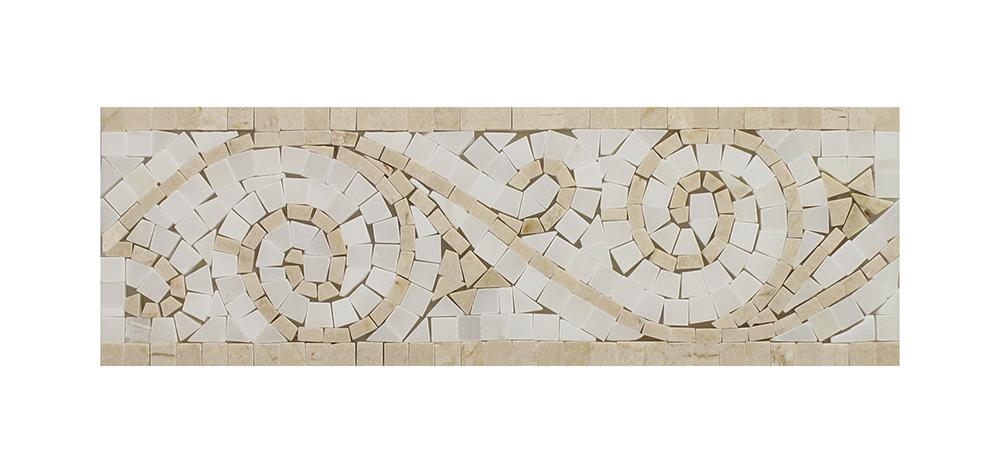 """Crema Marfil - Pure White Art Border - 4"""" x 12"""" Image"""
