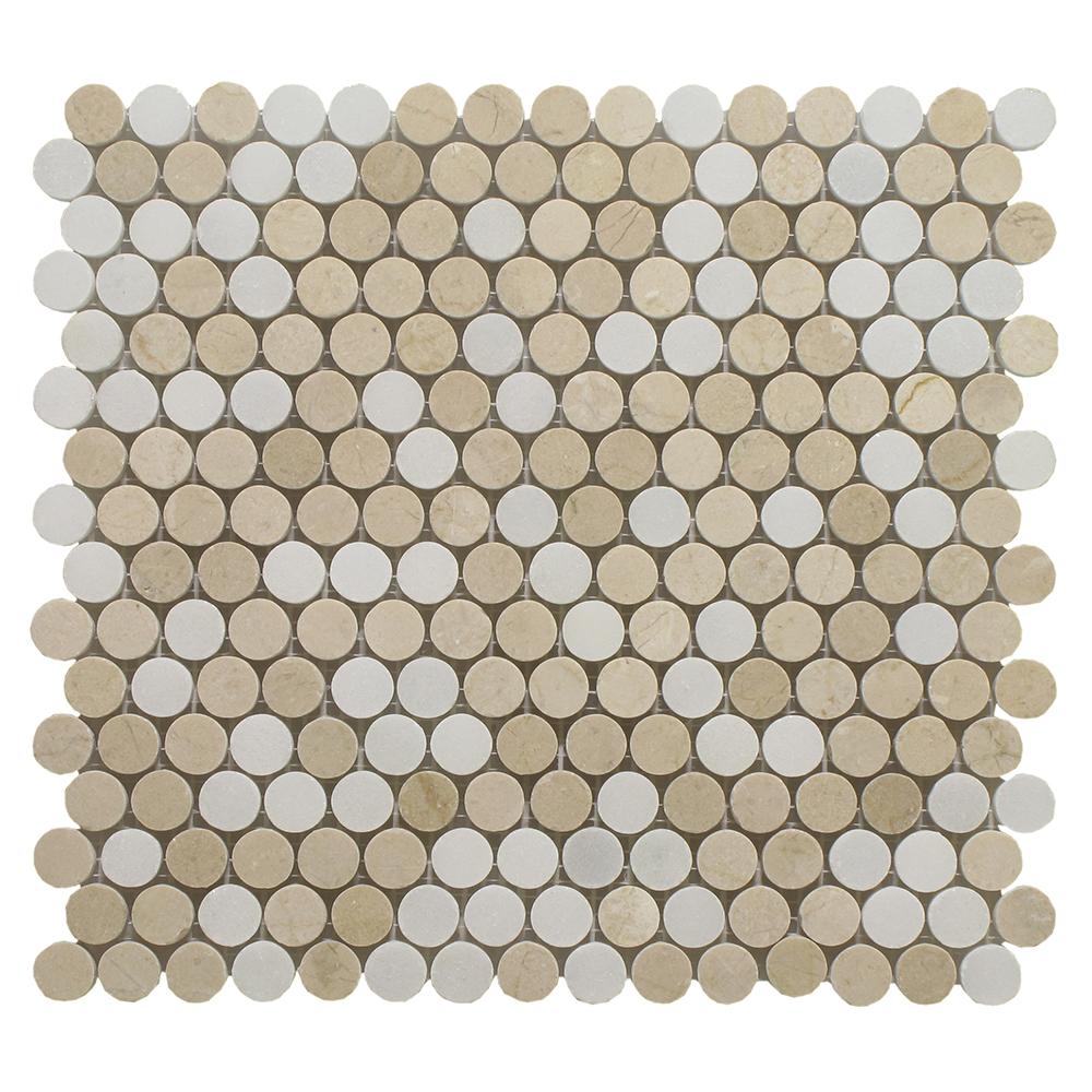 "Crema Marfil Mixed W / Pure White Penny Round 3/4"" - 12"" x 12"" Image"