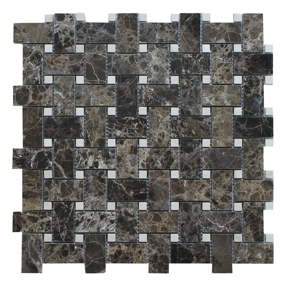 Dark Emperador - Crema Marfil Dot Basket Weave Image