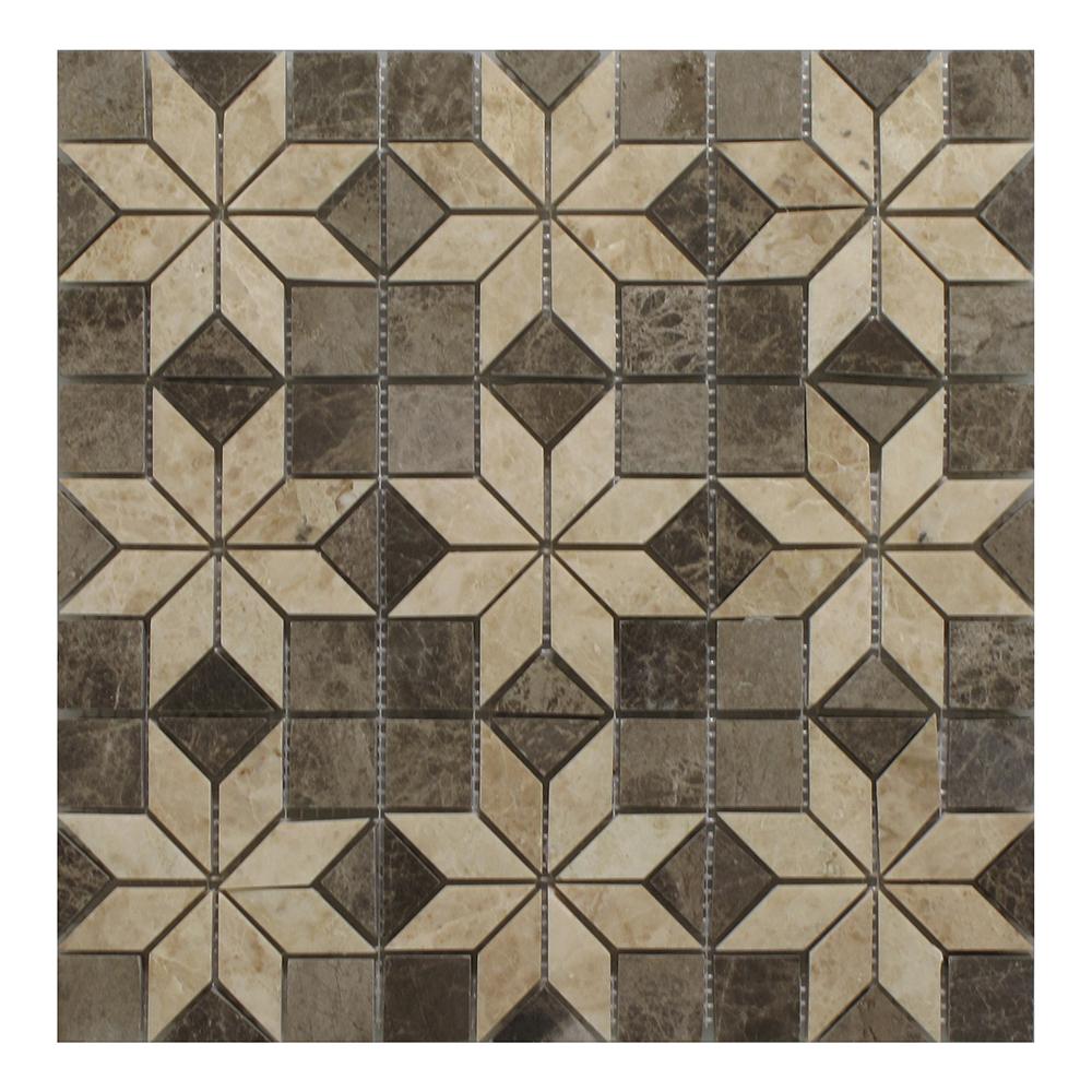 """Dark Emperador - Cappucino Insert Mosaic (9 pcs inserts) - 12"""" x 12"""" Image"""
