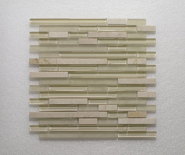 Glass & Stone Blend Random Strip Mosaic MAG 4440-ST Image