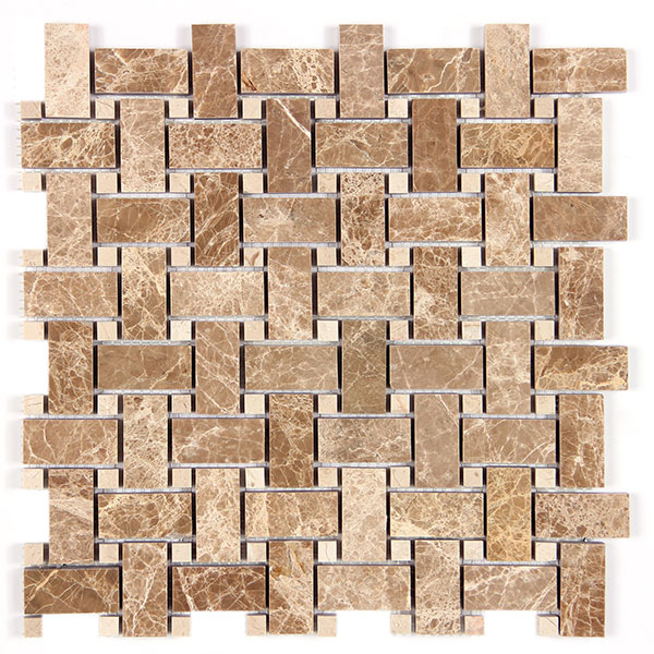Light Emperador - Beige Dot Basket Weave Image