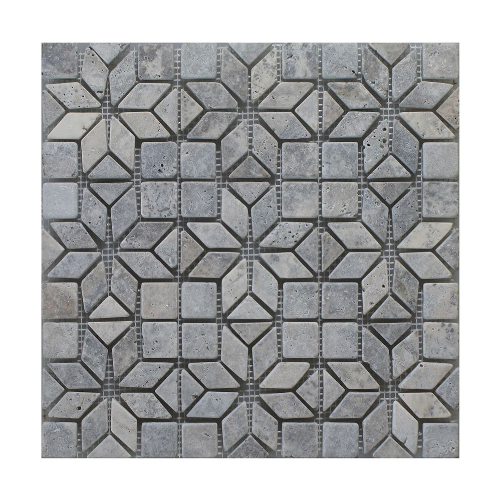 "Silver - Silver Insert Mosaic (9 pcs inserts) - 12""x12"" Image"