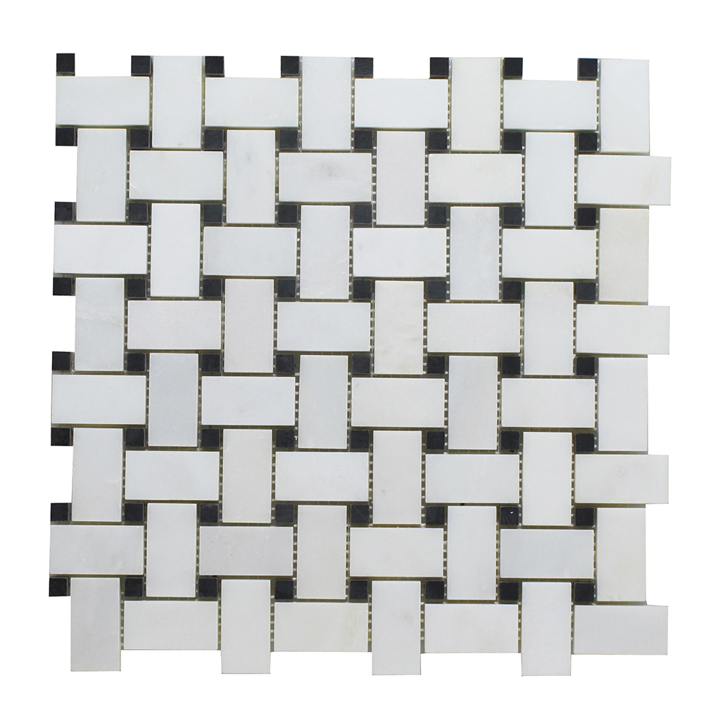 Arabescato - Black Stone Dot Basket Weave Image