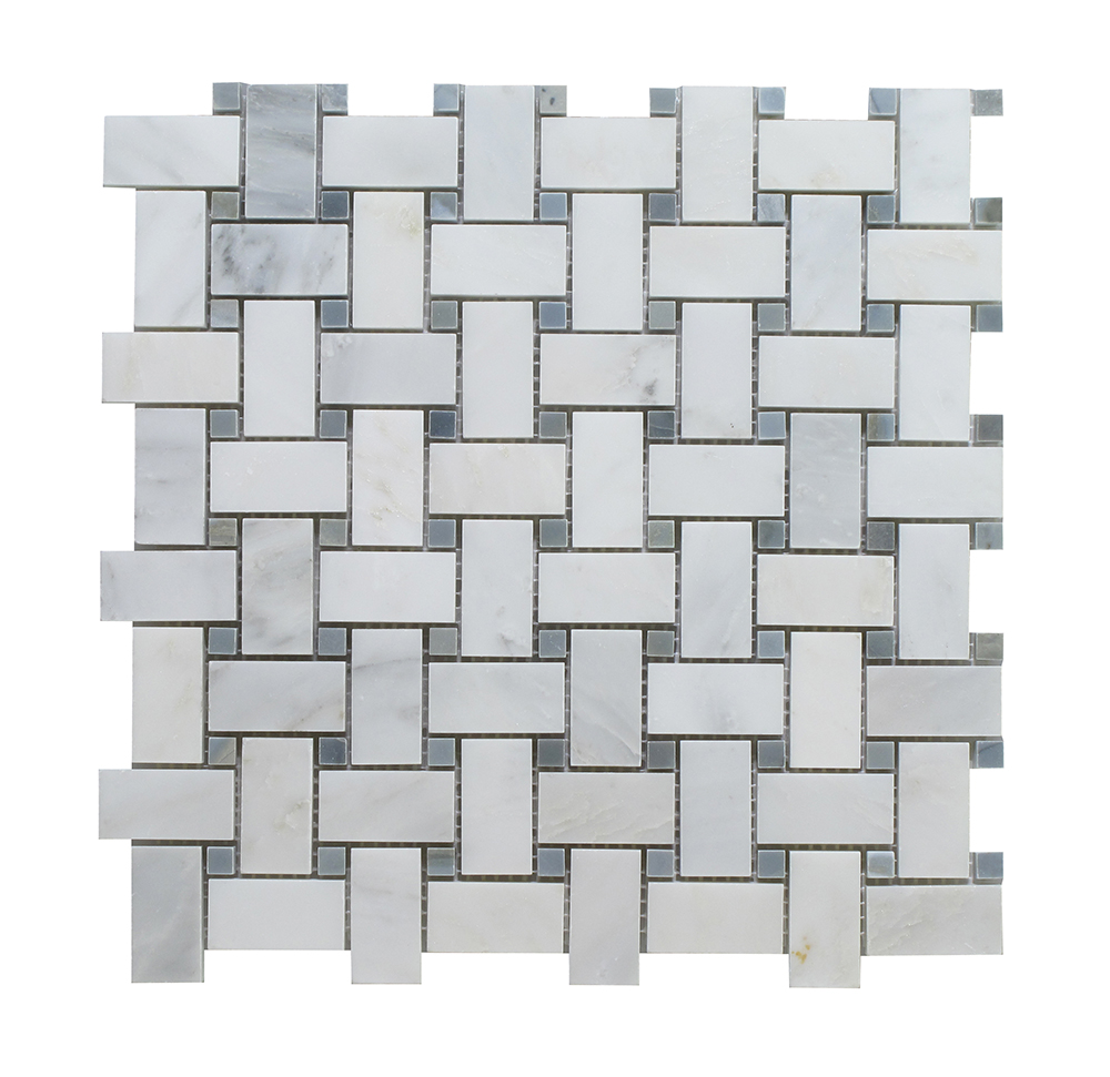 Arabescato - Blue Stone Dot Basket Weave Image