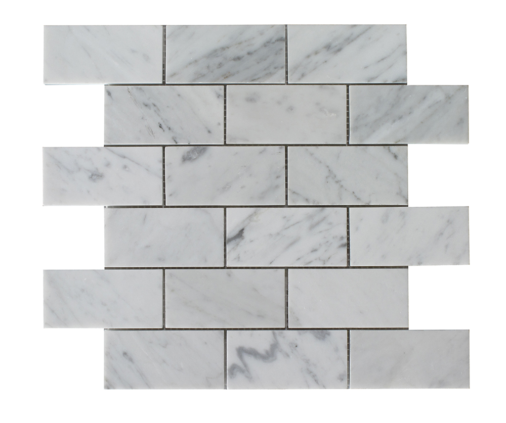 "Bianco Carrara Brick Big Beveled - 2""x4"" Image"