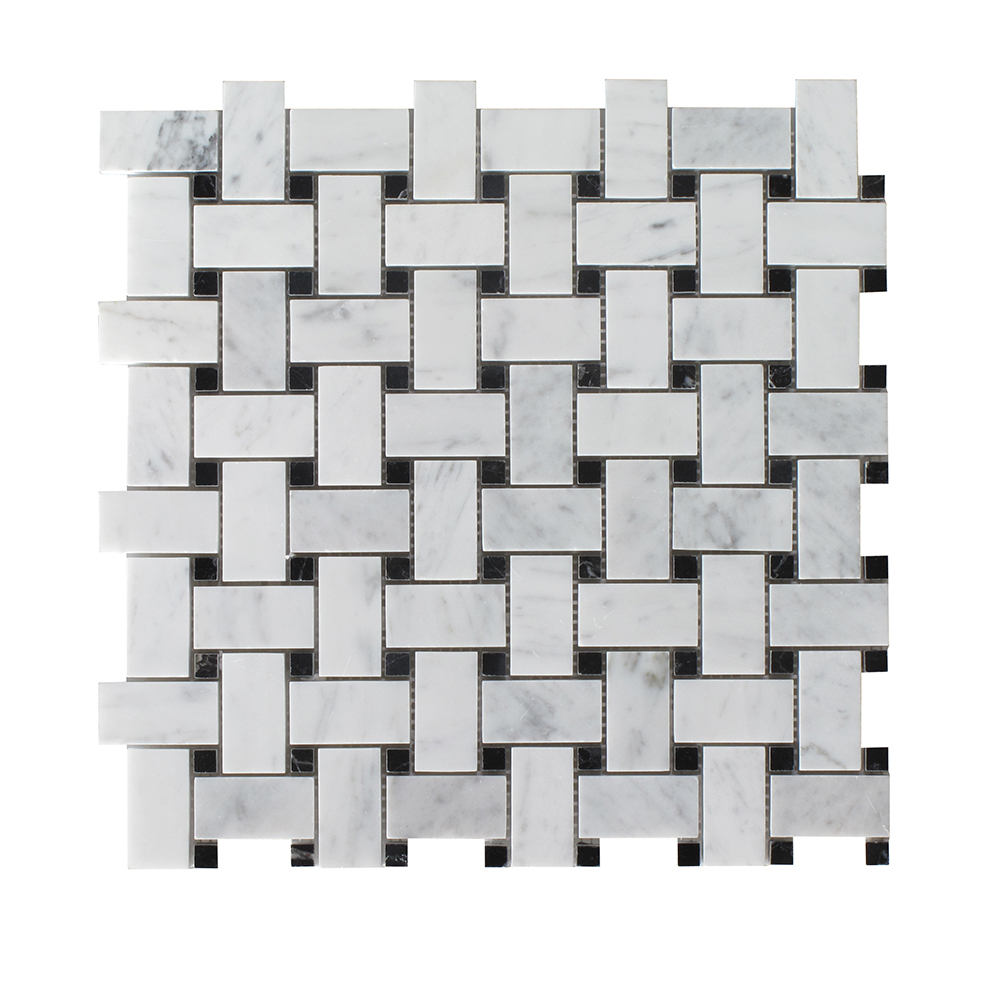 Bianco Carrara - Black Dot Basket Weave Image