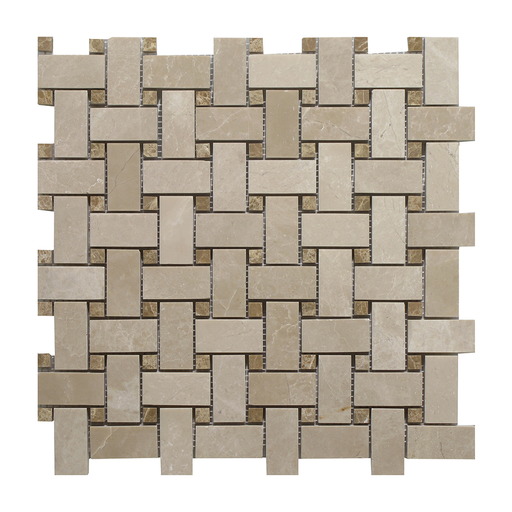 Botticino - Light Emperador Dot Basket WeaveaBotticino - Light Emperador Dot Basket Weave Image